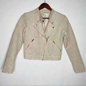 H&M Girls Tan Suede Moto Crop Jacket